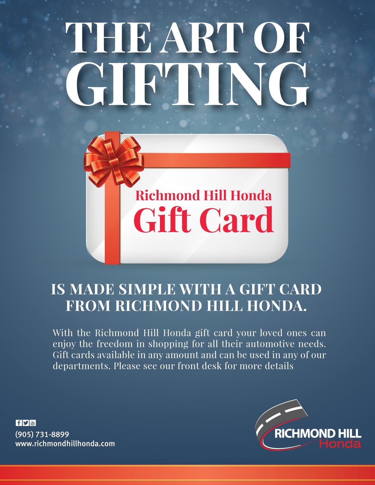gift card new used honda dealer richmond hill. Black Bedroom Furniture Sets. Home Design Ideas