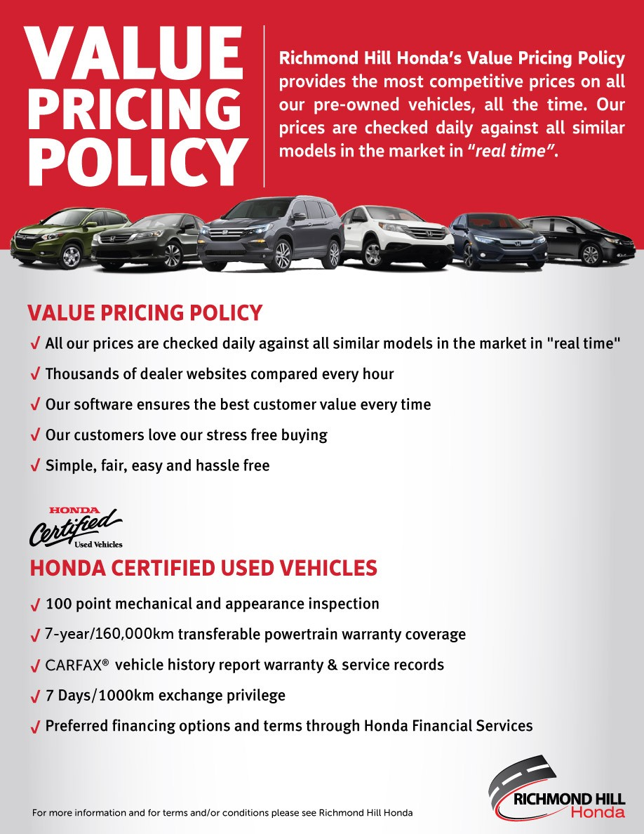 Market Value Pricing at Richmond Hill Honda