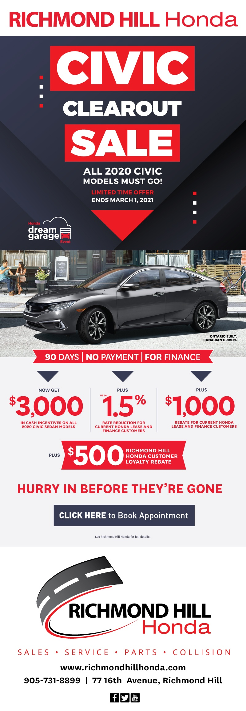 2020 Honda Civic Exterior at Richmond Hill Honda in Toronto and the GTA