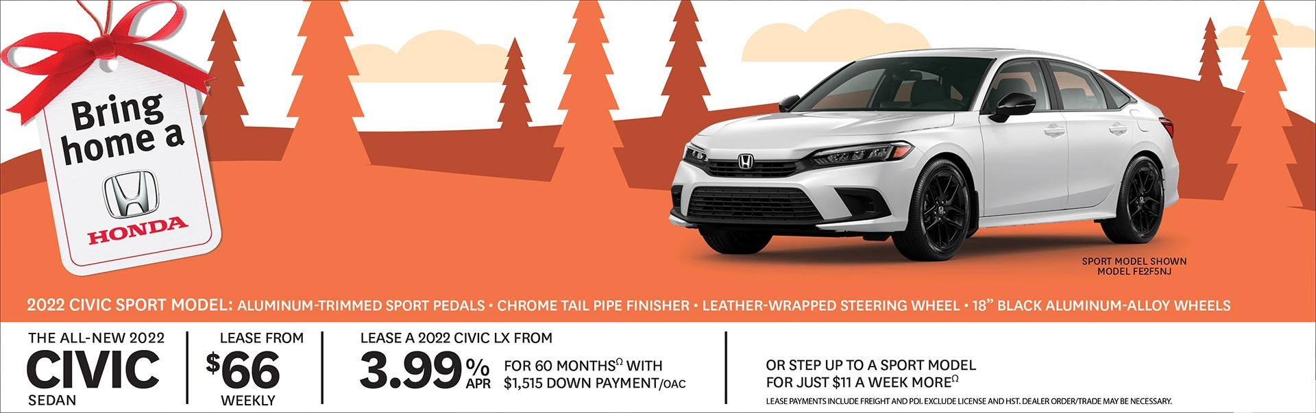 2022 Honda Civic Canadian Incentives at Richmond Hill Honda in Toronto and the GTA